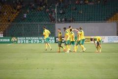 Giocatori FC Kuban che celebra scopo segnato contro FC Ufa Immagini Stock Libere da Diritti