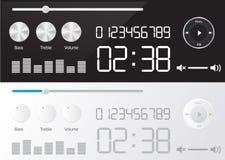 Giocatori lucidi di vettore gli audio progettano con controllo differente Fotografia Stock Libera da Diritti