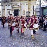 Giocatori medievali del tamburo Immagine di colore Fotografie Stock