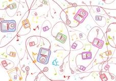 Giocatori mp3 disegnati a mano freddi Fotografia Stock Libera da Diritti