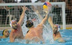 Giocatori spagnoli di waterpolo Fotografie Stock Libere da Diritti