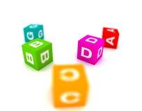 Giocattoli alfabetici nella figura del cubo illustrazione vettoriale