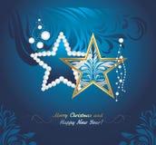 Giocattoli brillanti di Natale su fondo blu scuro Cartolina d'auguri Fotografia Stock