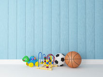 Giocattoli con fondo di legno blu Fotografia Stock Libera da Diritti