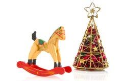 Giocattoli con l'albero di Natale fotografia stock