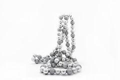 Giocattoli d'argento dell'abete di Natale Fotografia Stock Libera da Diritti