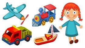 Giocattoli dei bambini isolati sul vettore bianco del fondo illustrazione di stock