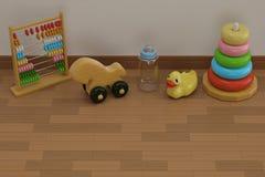 Giocattoli del bambino sull'illustrazione di legno del pavimento 3D immagini stock