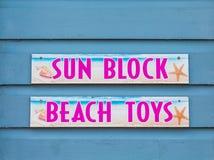Giocattoli del blocchetto e della spiaggia di Sun Fotografia Stock Libera da Diritti