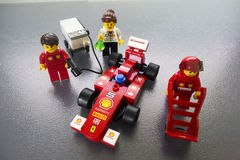 Giocattoli del Ferrari Lego delle coperture Fotografie Stock Libere da Diritti