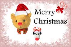 Giocattoli di Buon Natale con testo Fotografie Stock