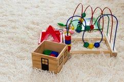 Giocattoli di legno del bambino Fotografie Stock