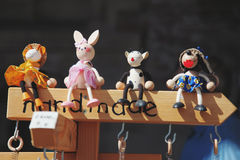 Giocattoli di legno fatti a mano ricordi Immagini Stock Libere da Diritti