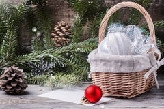 Giocattoli di Natale con l'albero di Natale Immagine Stock Libera da Diritti