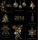 Giocattoli di Natale o dei nuovi anni fatti del fiocco di neve dell'oro Fotografie Stock Libere da Diritti