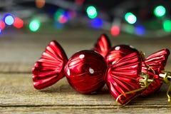 Giocattoli di Natale sotto forma di caramella Fotografie Stock Libere da Diritti