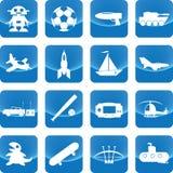 Giocattoli per l'icona del ragazzo sul bottone blu illustrazione di stock
