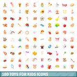 100 giocattoli per le icone dei bambini hanno messo, stile del fumetto Fotografie Stock
