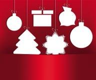 Giocattoli rossi di Natale di progettazione illustrazione di stock
