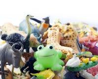 Giocattoli sudici di plastica degli animali Fotografie Stock Libere da Diritti