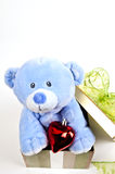Giocattolo blu dell'orso Fotografia Stock