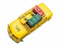 Giocattolo d'annata dell'automobile del taxi del primo piano Fotografie Stock Libere da Diritti