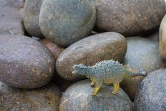 Giocattolo dei dinosauri del Ankylosaurus sulla pietra Immagine Stock