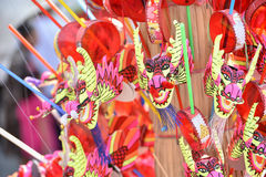 giocattolo del fronte di carnevale; leone tradizionale cinese di dancing; Giocattolo cinese Fotografia Stock