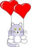 Giocattolo del gatto del bambino del fumetto con i baloons rossi del cuore Immagini Stock Libere da Diritti