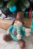 Giocattolo del pupazzo di neve di Natale Fotografie Stock