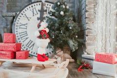 Giocattolo del pupazzo di neve di Natale Immagini Stock