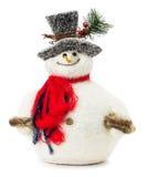 Giocattolo del pupazzo di neve isolato sui precedenti bianchi Immagine Stock Libera da Diritti