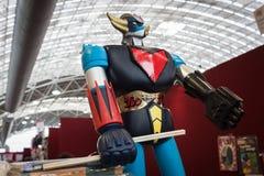 Giocattolo del robot di Goldrake su esposizione alla convenzione di Festival del Fumetto a Milano, Italia Immagine Stock Libera da Diritti