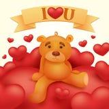 Giocattolo dell'orsacchiotto che si siede sul cuore rosso Cartolina d'auguri di giorno di biglietti di S. Valentino della st Immagine Stock