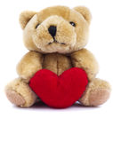 Giocattolo dell'orsacchiotto con cuore Fotografie Stock Libere da Diritti
