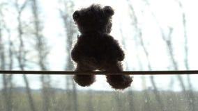Giocattolo della peluche che viaggia sulla finestra in treno, concetto di viaggio della strada stock footage