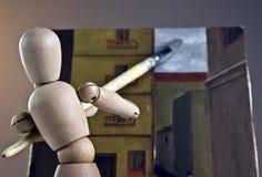 Giocattolo di legno del pittore Fotografia Stock Libera da Diritti