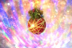 Giocattolo di Natale e di luci colorate multi fotografie stock