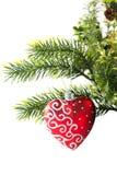 Giocattolo di Natale sotto forma di cuore su un ramo Fotografie Stock Libere da Diritti