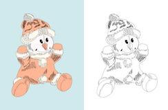 Giocattolo disegnato a mano - pupazzo di neve, bambola Immagine Stock