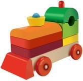 Giocattolo locomotivo colorato cubi di legno Fotografie Stock