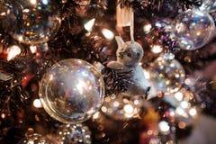 Giocattolo sveglio della decorazione dell'albero di Natale sotto forma di pinguino del bambino Immagini Stock