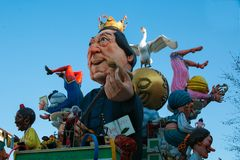 Giocchino Rossini wagon at Fano Carnival. Every year the feast attracts more than visitors to attend the magic of the grand parade Stock Image