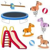 Giochi al suolo di ricreazione dei bambini messi Fotografia Stock