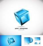 Giochi blu di progettazione dell'icona di logo del contenitore 3d di cubo Immagini Stock Libere da Diritti