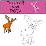 Giochi dei bambini: Colleghi i punti Alci gentili svegli illustrazione di stock