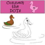 Giochi dei bambini: Colleghi i punti Piccola anatra sveglia illustrazione vettoriale