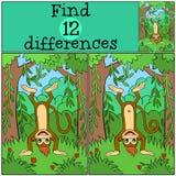 Giochi dei bambini: Differenze del ritrovamento Piccola scimmia sveglia Fotografia Stock Libera da Diritti