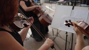 Giochi dei musicisti sul contrabbasso e fiddle accanto al supporto musicale con le note sulla ripetizione stock footage