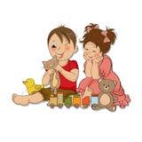 Giochi del ragazzo e della ragazza con i giocattoli illustrazione vettoriale